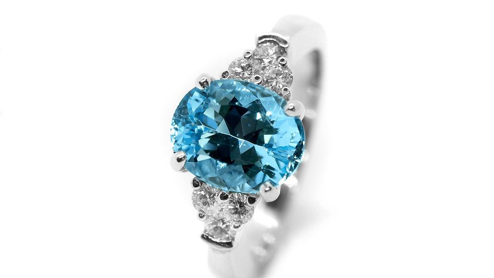 Aquamarine 7-Stone Ring | SS108 | 2.52CT w/ .35CT dia | 2700K
