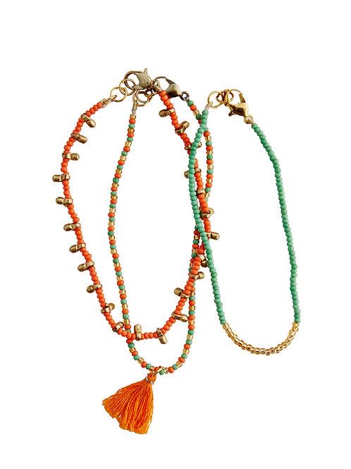 Beaded Bracelet set (orange/green/gold)