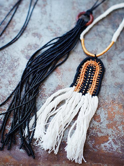 White Necklace with Fringe