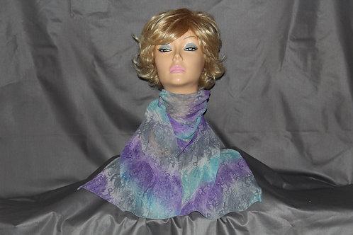 Purple-Turquoise Tie-Dye Neck Scarf