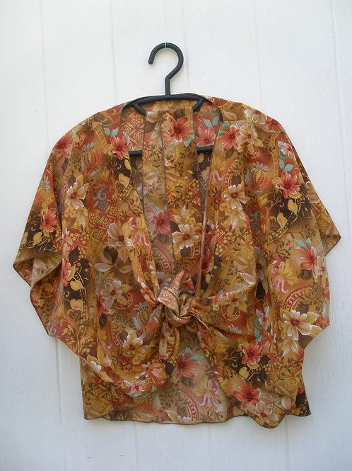 Rust, beige, brown floral print