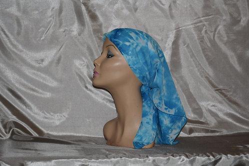 Blue/white Tie-Dye Print Cancer/Head Scarf