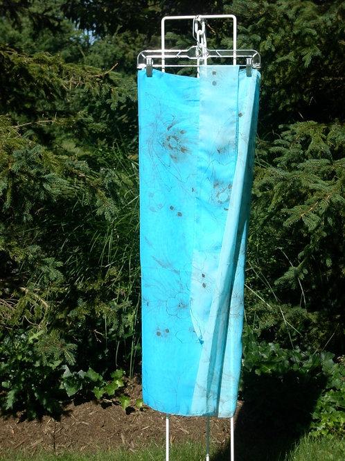Chiffon turquoise print sarong & hat band