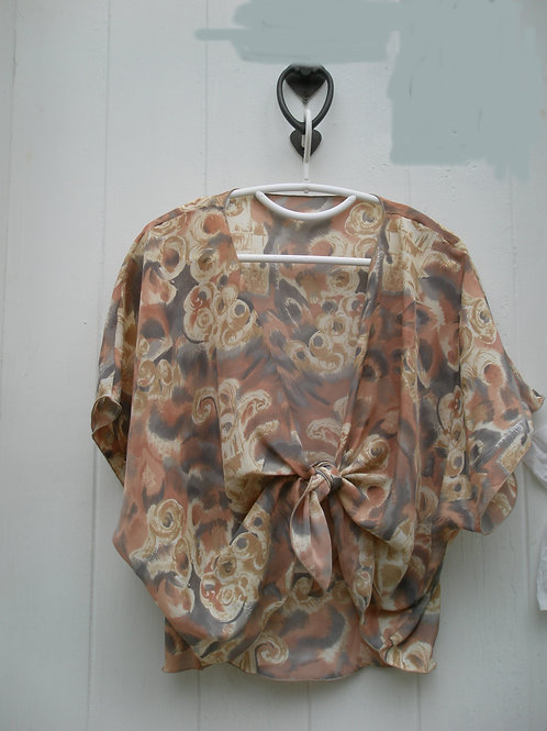 Gold rust gray floral geometric print