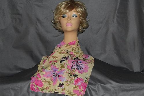 Pink-Lavender Floral Neck Scarf