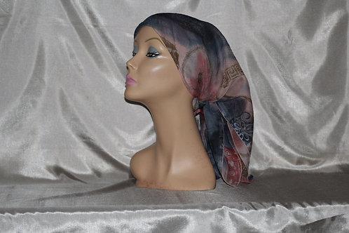 Chiffon Oriental Print Cancer/Head Scarf
