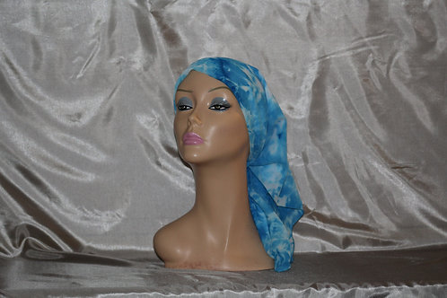 Light and Navy Blue Leaf Print Chiffon Head Scarf