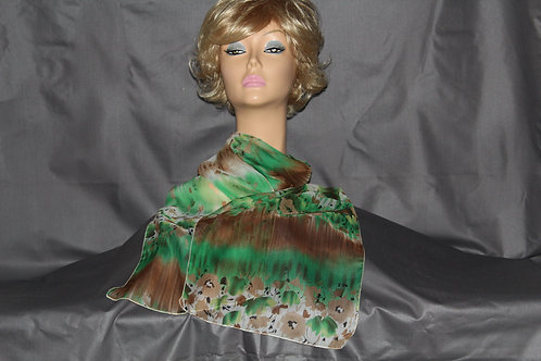 Brown & Green Flowers Neck Scarf