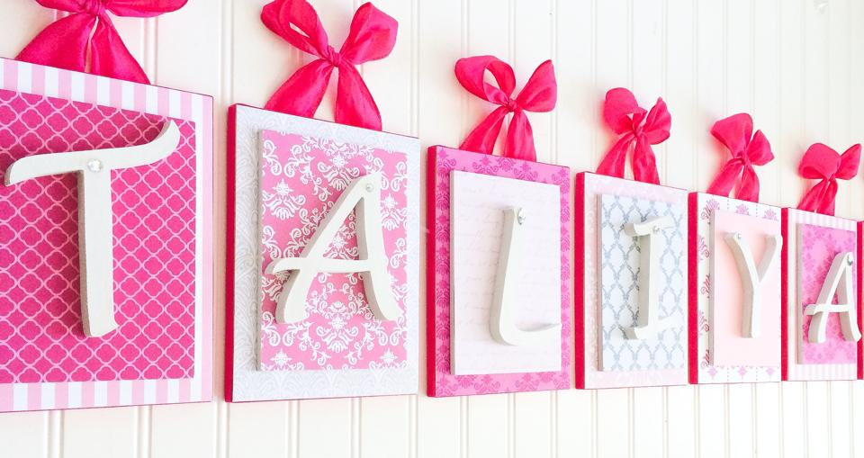 Hot Pink and Gray Nursery Letters