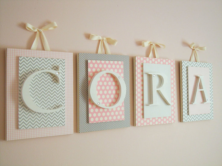 Pink Gray and Cream Nursery Letters