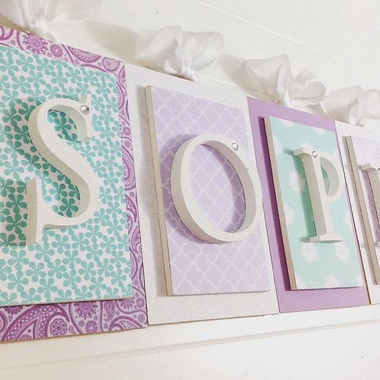 Purple and Aqua Nursery Letters