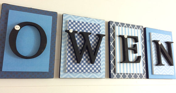 Blue and Black Nursery Letters