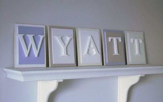 Blue Gray and Cream Nursery Letters