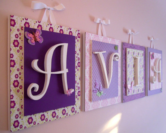 Pink and Purple Nursery Letters