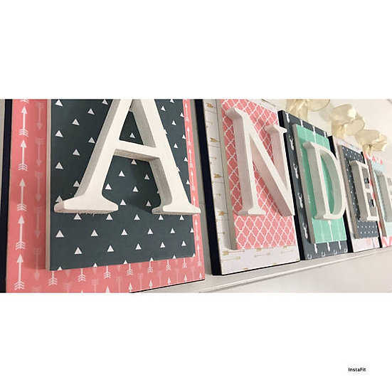 Coral Navy and Mint Nursery Letters