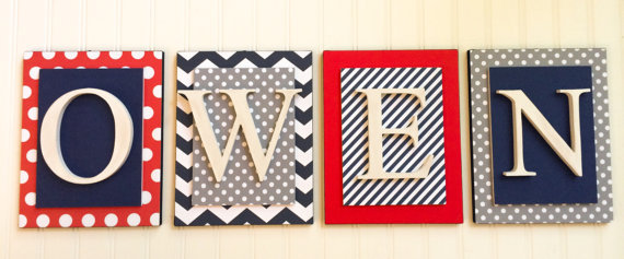 Navy Gray and Red Nursery Letters