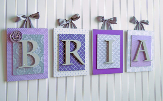 Purple and Gray Nursery Letters