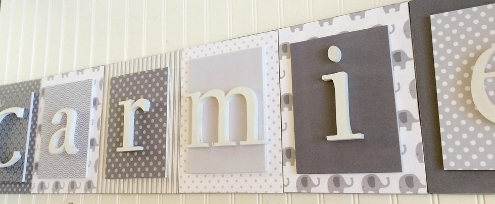 Gray and White Nursery Letters