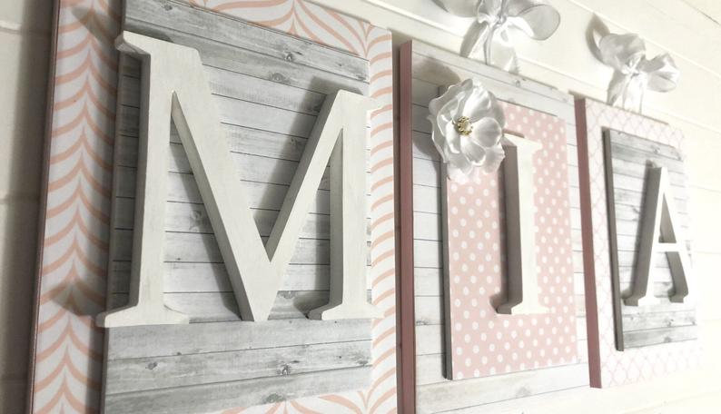 Blush Pink and Gray Wood Nursery Letters