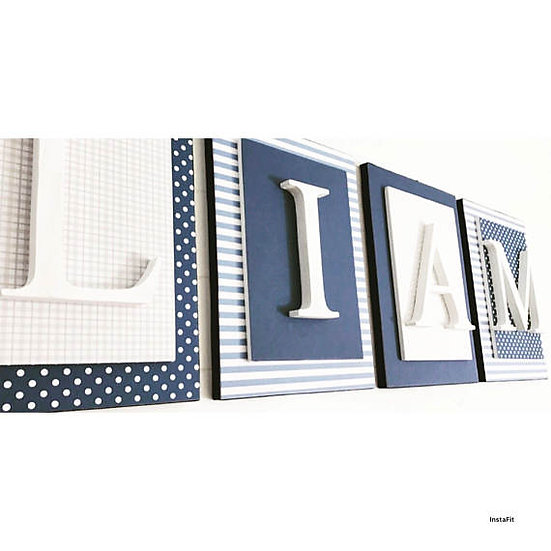Navy Blue and Gray Nursery Letters