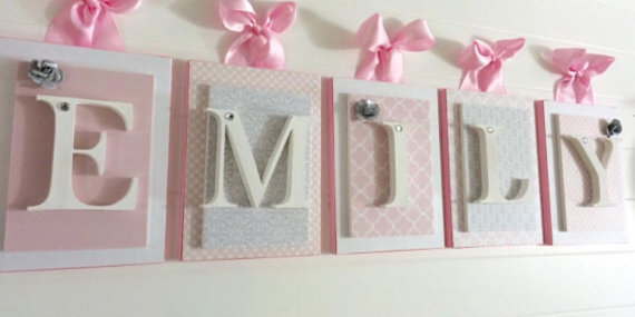 Pink Gray and White Nursery Letters