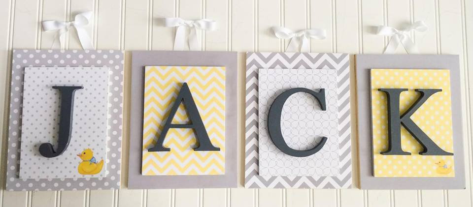 Gray and Yellow Nursery Letters
