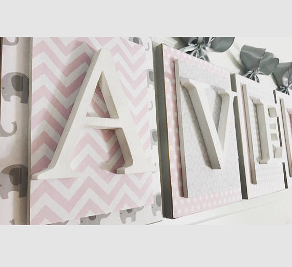 Pink and Gray Nursery Letters