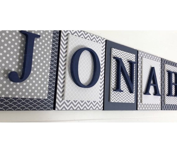 Navy and Gray Nursery Letters