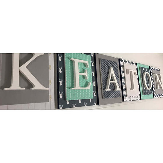 Gray Navy and Mint Nursery Letters