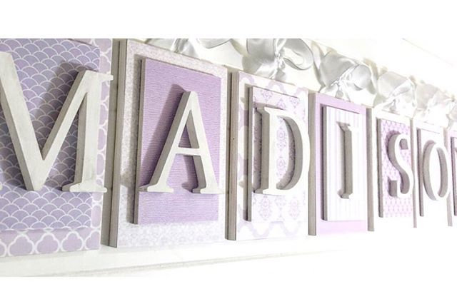 Lavender and White Nursery Letters