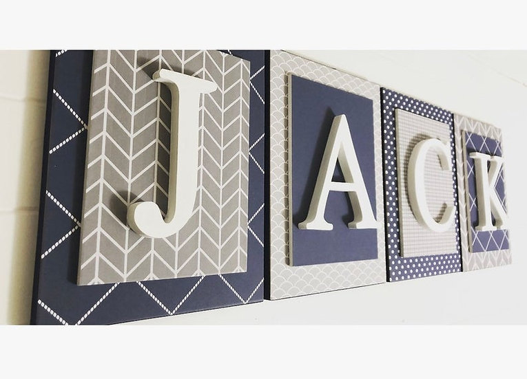 Navy and Gray Letters