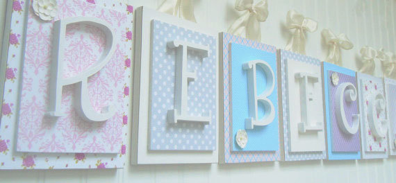 Pink, Aqua, Cream, Gray and Lavender Nursery Letters