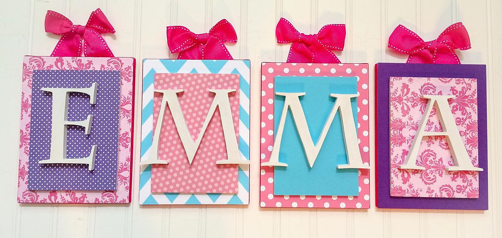 Pink Purple and Aqua Nursery Letters