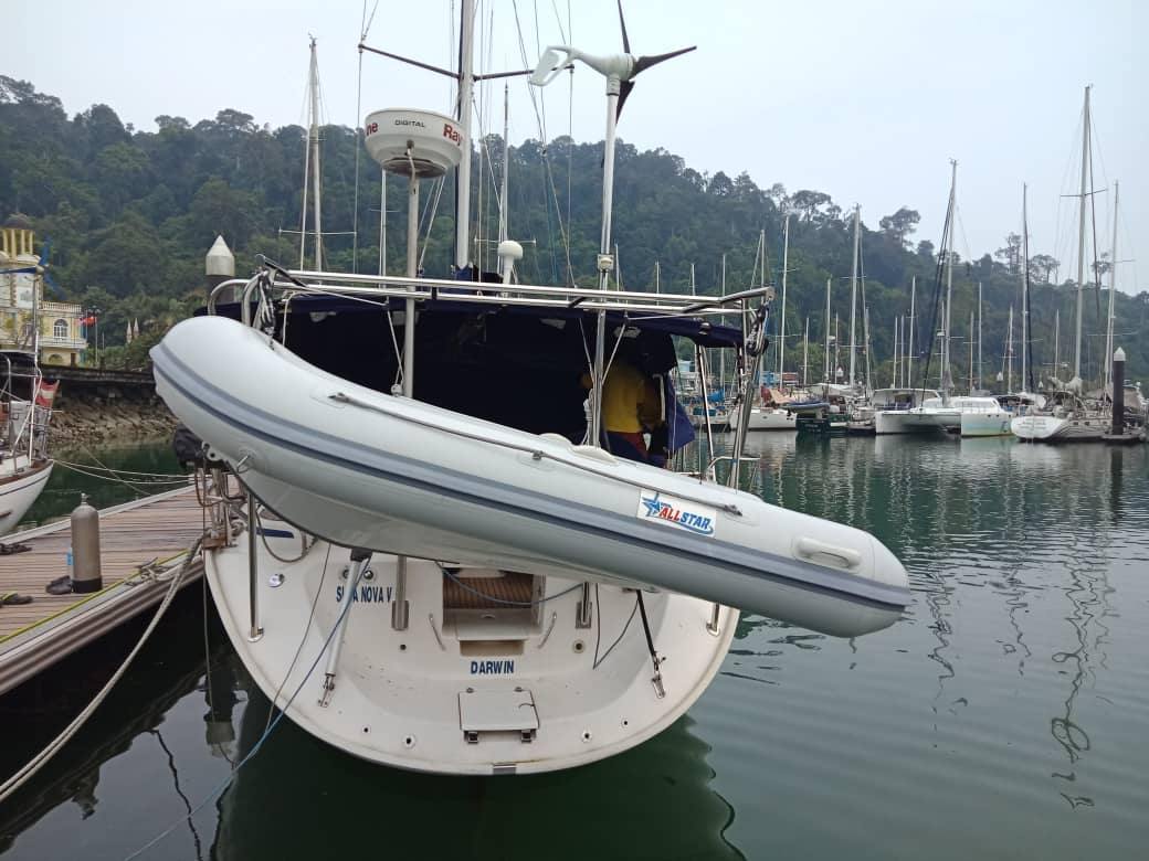 Davits and dinghy