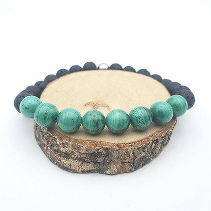 Bracelet Malachite et pierre de lave