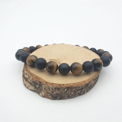 Bracelet Œil du tigre et onyx