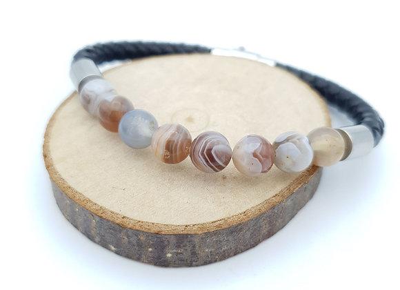 Bracelet Cuir Agate Botswana
