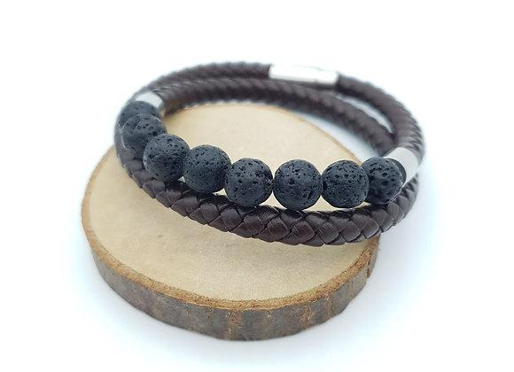 Bracelet Cuir Pierre de lave