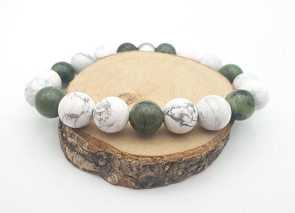 Bracelet jade néphrite et howlite