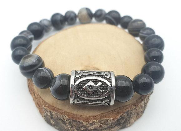 Bracelet agate œil et rune Othala