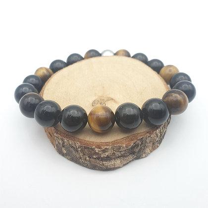 Bracelet Œil du tigre et tourmaline noir