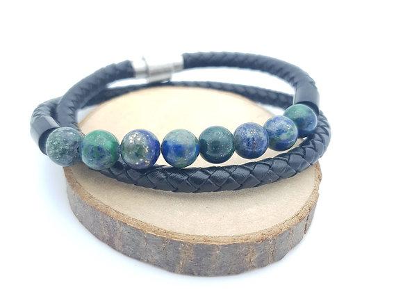 Bracelet Cuir Malachite/azurite