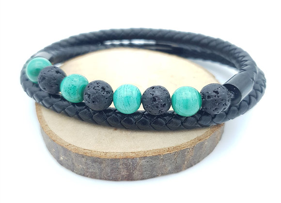 Bracelet Cuir en Malachite - Pierre de lave