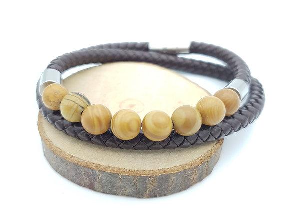 Bracelet Cuir Jaspe bois mat