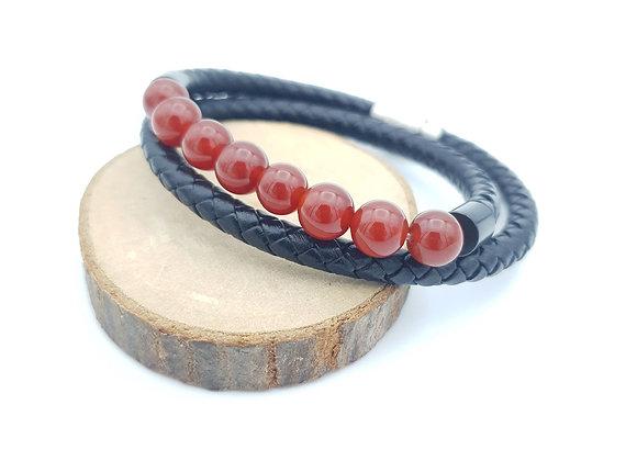 Bracelet Cuir Cornaline
