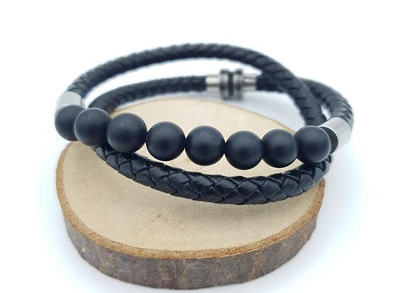 Bracelet Cuir Onyx mat