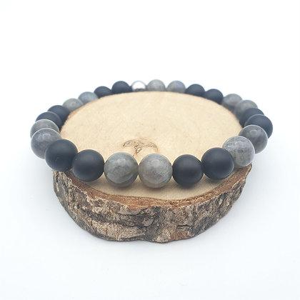 Bracelet Labradorite et onyx