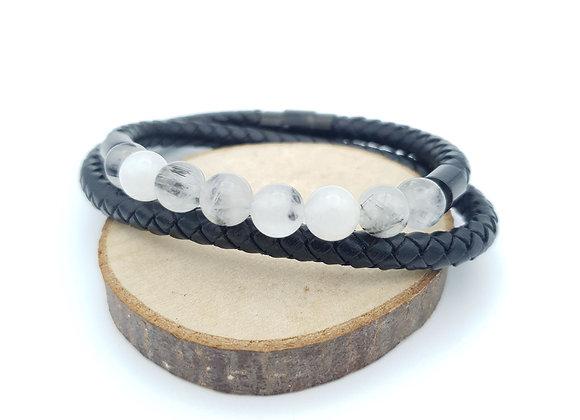 Bracelet Cuir Quartz tourmaline