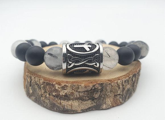 Bracelet quartz tourmaline, onyx et rune Algiz