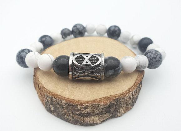 Bracelet obsidienne neige, howlite et rune Dagaz